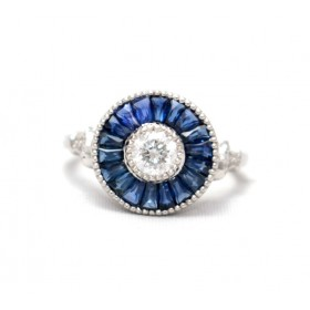 Sapphire and diamond Target Ring