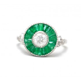 Emerald and Diamond Cluster Target Ring