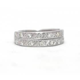Two Row Half Eternity Ring