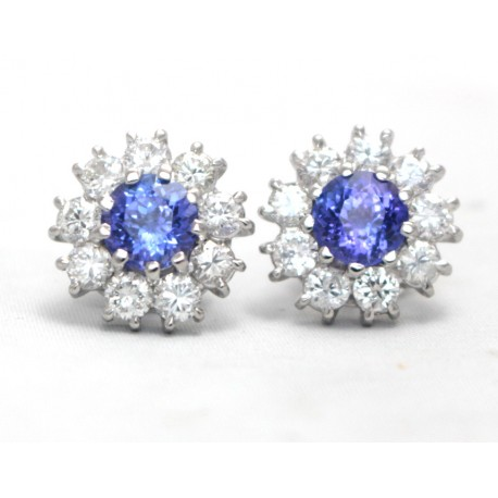 Tanzanite and Diamond Cluster Earrings