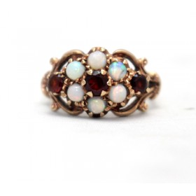Garnet and Opal Cluster Ring