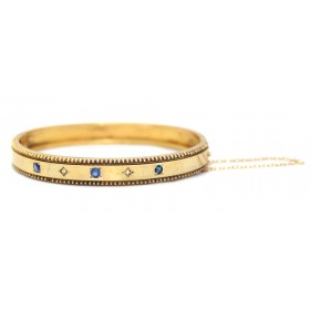 Sapphire and Pearl Gold Bangle