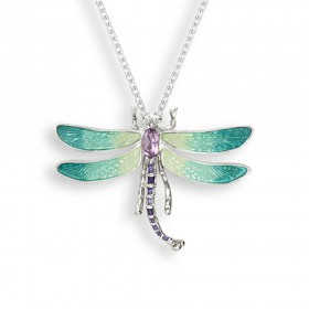 Enamel Sterling Silver Green Dragonfly Necklace