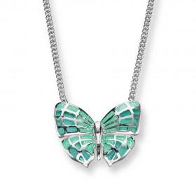 Enamel sterling silver butterfly necklace