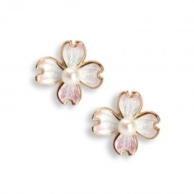 Rose gold Flower enamel earrings