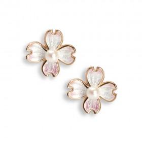 Rose gold Flower enamel earrings