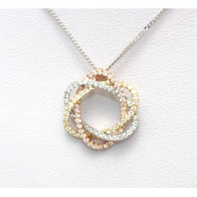 Multi- coloured Diamond Set Pendant