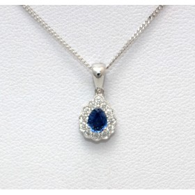 Pear Shape Sapphire and Diamond Pendant