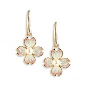 Rose Gold Plated Enamel Drop Earrings with Pearl