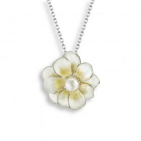 Enamel Flower Pendant with Pearl