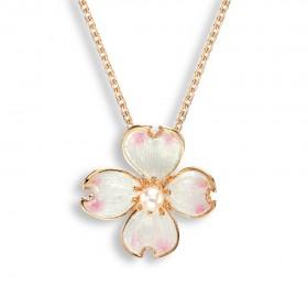 Rose Gold Plated Flower Enamel Pendant