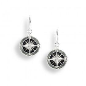 Enamel Compass Drop Earrings