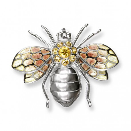 Silver Bee Brooch/ Pendant Enamel and Yellow Sapphires