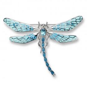 Plique-a-Jour Enamel Firefly set with Blue Topaz