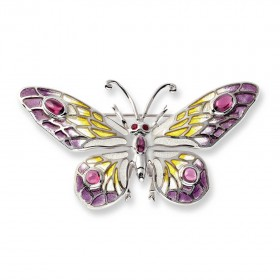Plique-a-Jour Butterfly set with Ruby and Rhodolite