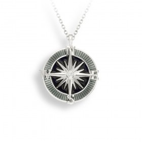 Enamel Sterling Silver Compass pendant