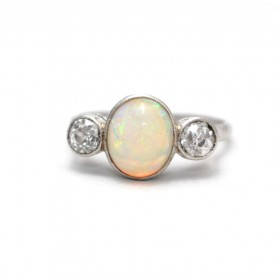 Opal and diamond Three Stone Ring