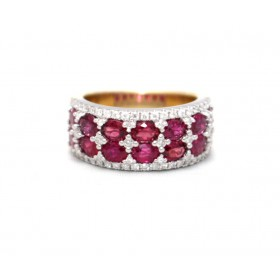 Diamond and Ruby cluster ring