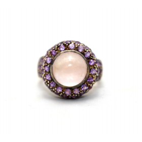 Rose quartz and amethyst cluster ring