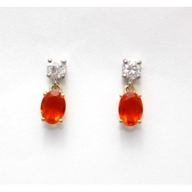 Fire Opal and Diamond Drop Earrings