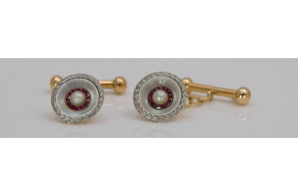 Mother of Pearl, Ruby and Pearl Cufflinks