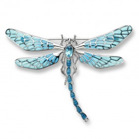 Plique-a-Jour Silver Dragonfly Brooch