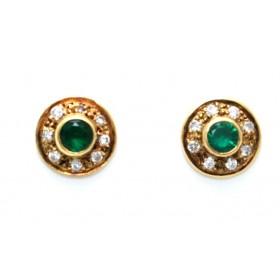 Emerald and diamond Stud Earings