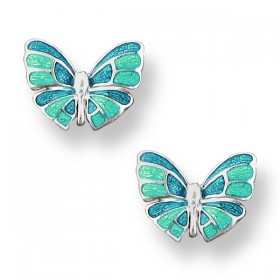 Green and blue enamel Butterfly earrings