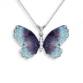 Sterling Silver and Enamel Butterfly Pendant