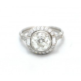 Platinum set Cushion Cut Diamond Cluster Ring