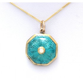 Green Enamel and seed pearl 9ct gold pendant