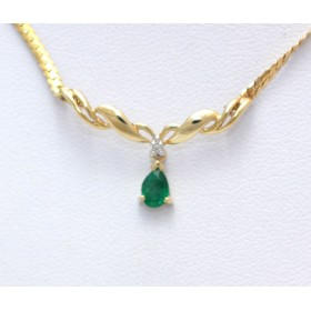 Emerald and diamond necklace set in 10ct yellow gold