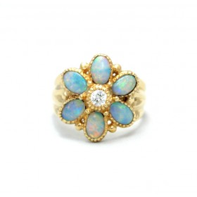 Opal and Diamond Cluster Rings