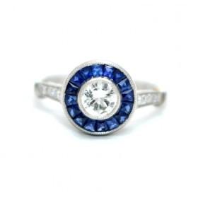 Sapphire and Diamond Target Ring