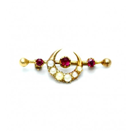Ruby and Pearl Brooch