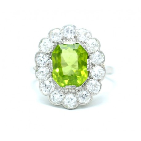 Peridot and diamond Cluster Ring