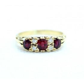 Ruby and diamond half hoop ring