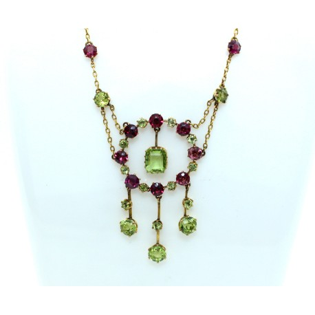 Victorian Tourmaline and Peridot Necklace