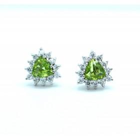 Peridot and diamond cluster earrings