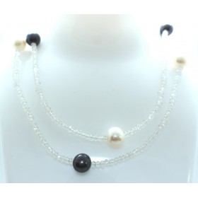 Colourless Quartz and Pearl Necklace