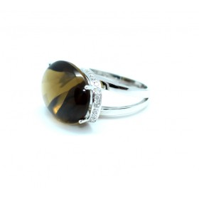 Smoky Quartz and diamond Ring