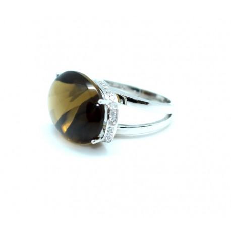 Smoky Quartz and diamond Ring
