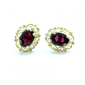 Garnet earrings 9ct gold