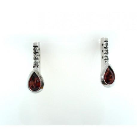 Garnet and Diamond earrings 9ct gold