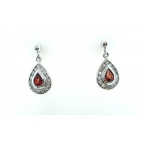Garnet and Diamond Cluster Earrings 9ct gold