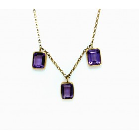 Amethyst necklace 9ct gold