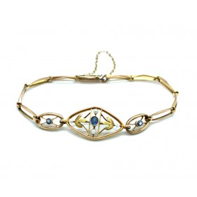 Sapphire and Pearl Edwardian Bracelet