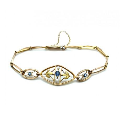 Sapphire and Pearl Edwardian Bracelet