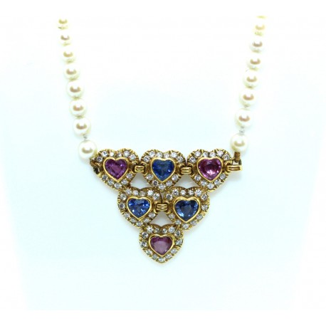 Sapphire and diamond pearl necklace