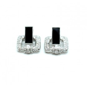 Art Deco Diamond and Onyx Earrings